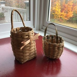 80's Hanging Wicker Basket Set